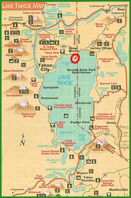 Adorable image for printable map of lake tahoe